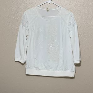 TINY Embroided Lace Shirt S/L Beige  Blouse